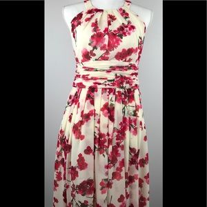 Evan Picone Halter Cocktail Dress Cherry Blossom